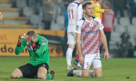 Tomasz Loska i Paweł Bochniewicz w meczu Korona Kielce - Górnik Zabrze
