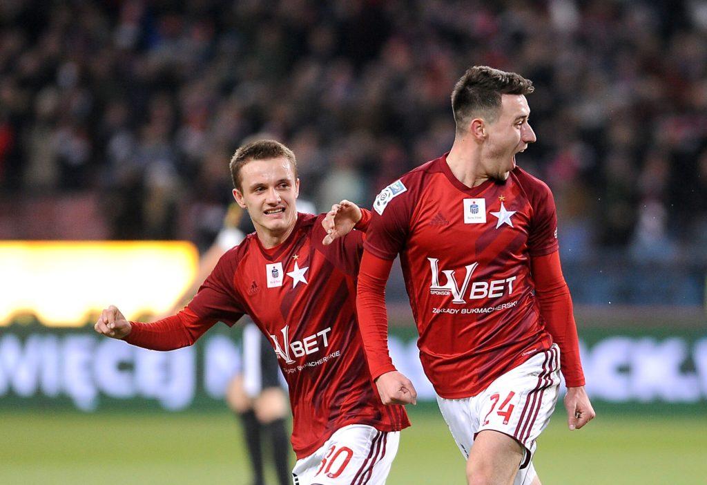 Kolar cieszy się po strzelonym golu w meczu Wisła Kraków - Jagiellonia Białystok
