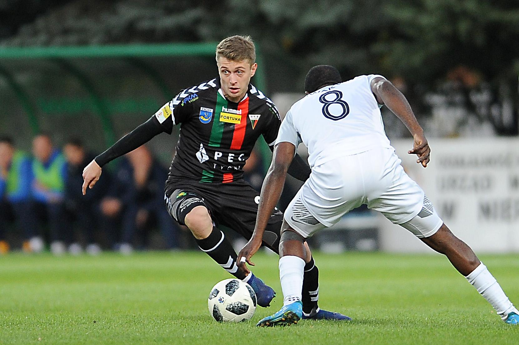 Hubert Adamczyk w meczu GKS Tychy - Puszcza Niepołomice